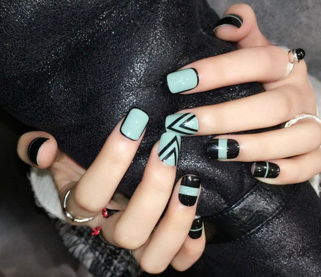 style super cute fake nails Japanese false nails set 24pcs Acrylic ...