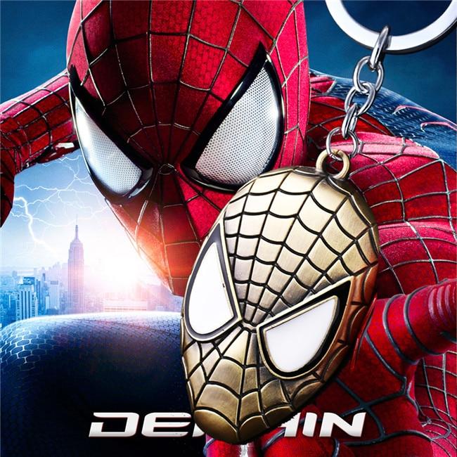 MS JEWELS Movie Cartoon Comics Spiderman Bronze Head Mask Key Chains Gifts Keychains Key Rings