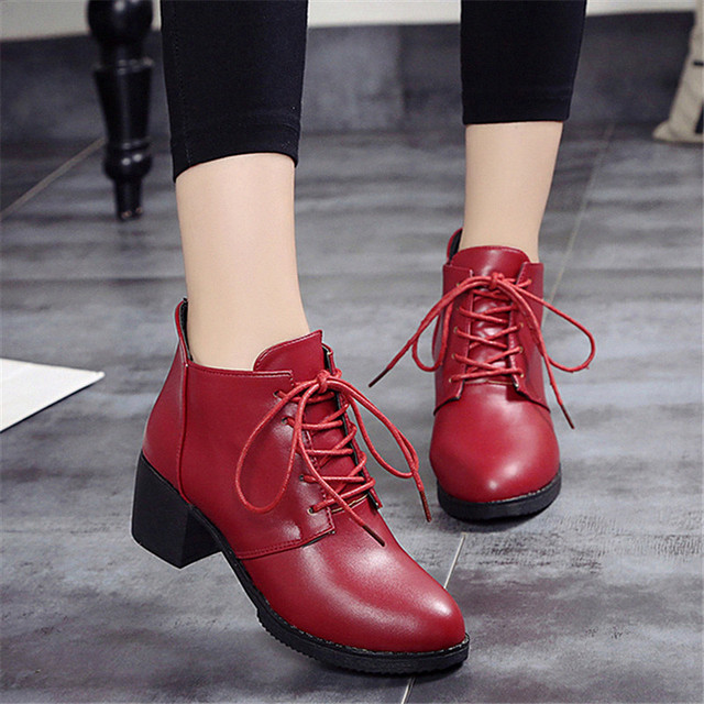 2017 Autumn Winter England Square Heel Ankle Boots High Heel Leather Lace Up Boots Retro Martin Boots 10115