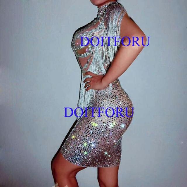8ae501691a Sparkly Crystals Big Stretch Dress Women's Evening Party Wear Full  Rhinestones Tassel Dress Prom Birthday Celebrate Outfit on Aliexpress.com |  Alibaba ...