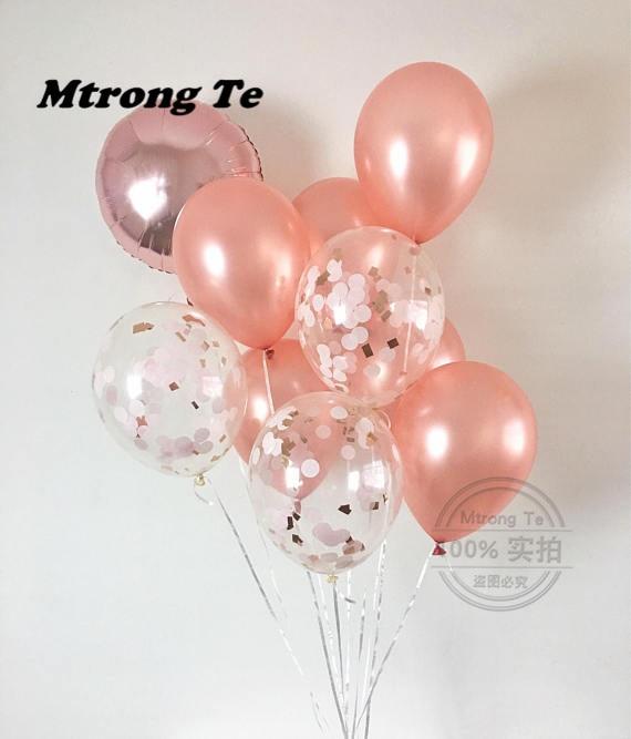 10pcs 12inch Rose Gold Confetti Latex Balloons Party Decrations Bachelorette Bridal Shower Wedding & Engagement Party Balloon