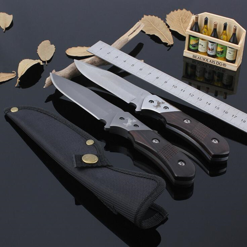 Outdoor Survival Camping font b Knife b font Wood handle CS GO Fixed Blade font b