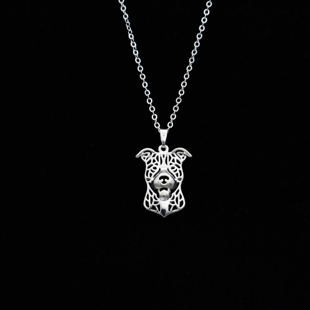 2017 cartoon boho chic alloy american staffordshire terrier pit bull choker pendant women necklace jewelry christmas gift idea