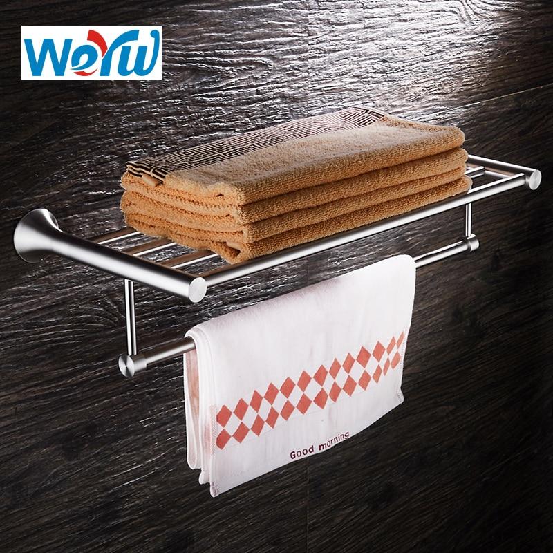 WEYUU Wall Mounted Brushed Nickel Towel Rack 40/50/60cm Bathroom Shelf Towel Holder 304Stainless Steel wall mounted bathroom towel holder foldable towel rack 60cm stainless steel towel shelf with hooks