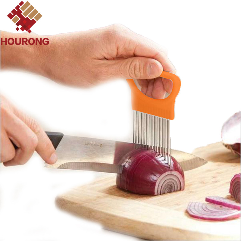 1Pc Easy Cut Onion Holder Fork Slicer Vegetable Tool Tomato Cutter Stainless Ste