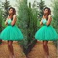 Cute Turquoise Cocktail Dresses 2016 Scoop neck Short Ball Gown vestidos Girls Short Prom Dresses Plus Size 2-24W  S1207