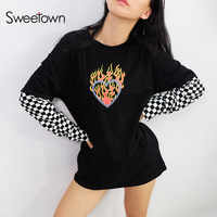 Sweetown Oversized Cotton Long Sleeve T Shirt Checkerboard Patchwork Graphic Tees Women Autumn 2018 Plus Size Harajuku Tshirt