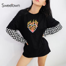 Sweetown Oversized Cotton Long Sleeve T Shirt Checkerboard Patchwork Graphic Tees Women Autumn 2018 Plus Size Harajuku Tshirt(China)