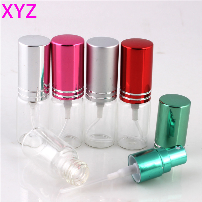 цены  XYZ 9 Colors 5ML 10ML  Mini Portable Colorful Glass Perfume Bottle With Aluminum Atomizer Empty Cosmetic Containers For Travel