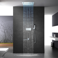 HIDEEP Rain Shower Faucet 16 Square Two Function LED Shower Head Bathroom Shower Mixers with Hand Shower Wall Mount Shower Arm