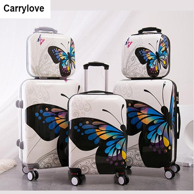 """Carrylove para mujeres juegos de equipaje rodante 20 """"24"""" pulgadas mariposa maleta de viaje bolsa de ruedas-in Maletas from Maletas y bolsas    1"""