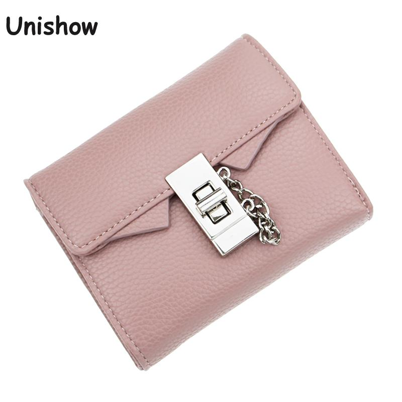 Fashion litchi stria Pu leather women wallet solid short women purse female brand 2017 wallet for women small chain lock wallet