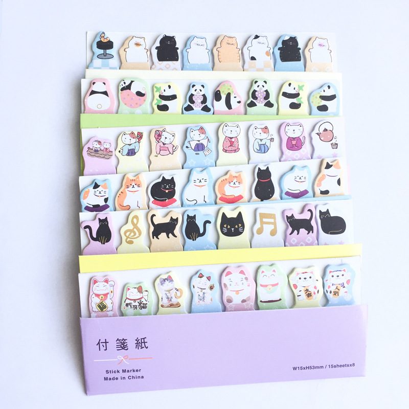 Animal Panda Cat Memo Pad N Times Sticky Notes Escolar Papelaria School Supply Bookmark Label