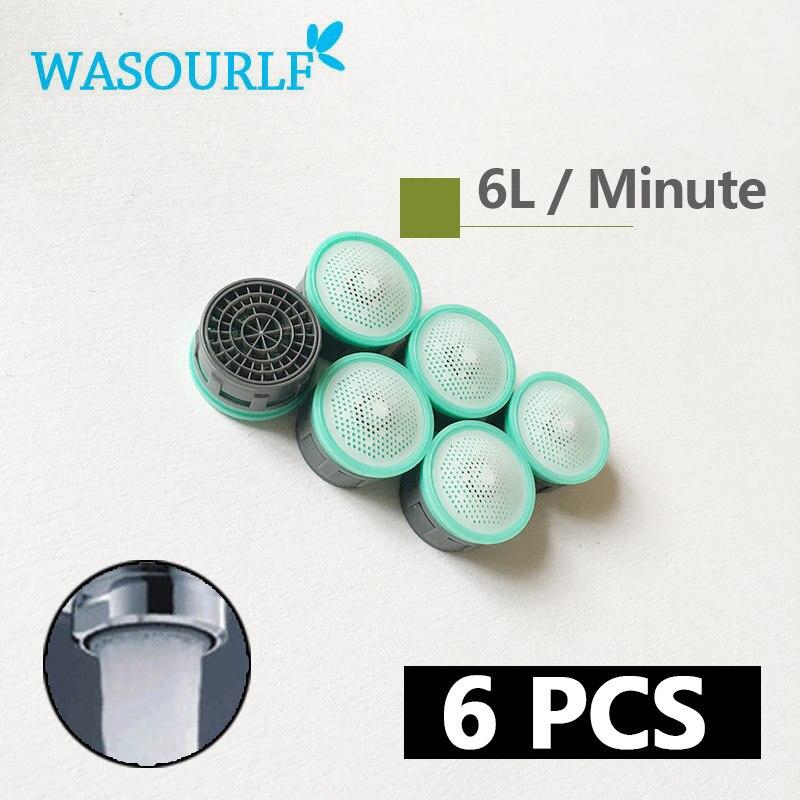 WASOURLF 6 PCS Water Saving Faucet Aerator 4L 6L 8L  24mm Male 22mm Female Thread Tap Spout Head Device Bubbler Wholesale