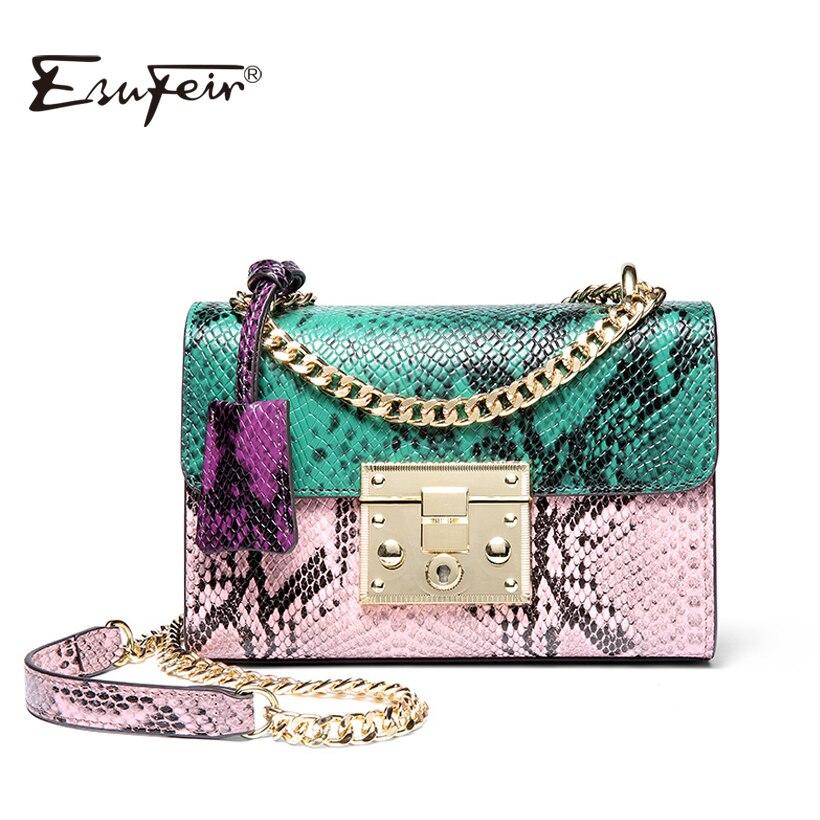 Esufeir бренд Для женщин сумка Пояса из натуральной кожи под змеиную кожу панелями Кроссбоди мешок мода дизайн Сумка Цепи Для женщин сумка