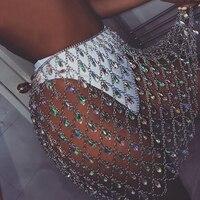 Party club Skirts Sexy Bling Metal Body Waist chain Diamonds skirt Women Summer Beach Hollow Colorful gem crystal skirts Festive