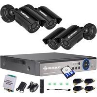 Defeway 1080N 4 канала Системы видеонаблюдения 1 ТБ HDD DVR комплект 4 шт. Открытый ИК Ночное видение 1.0 МП с аварийный аккумулятор