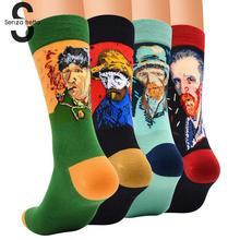 Harajuku Van Gogh Oil Painting Socks Women Art Mural Cotton New Fashion Crew Men NYY9190