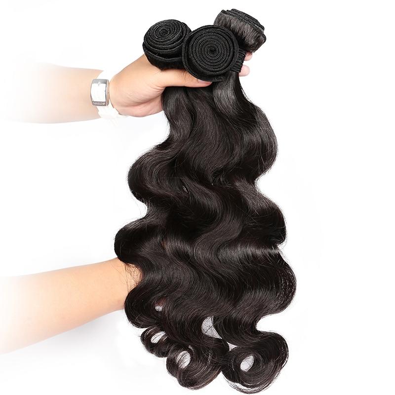 Перуанські Діви Волосся Ткать Пучки - Людське волосся (чорне) - фото 3