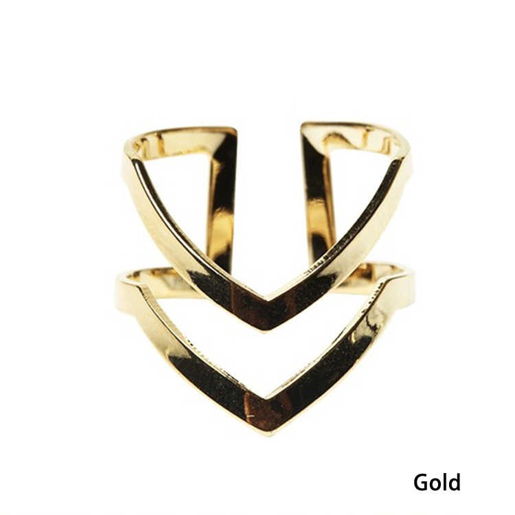 Fashion Gold Silver Plated Double V-shaped Half Opened Adjustable Vintage Woman Rings  Jewelery RING-0239