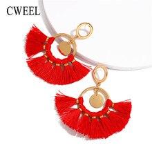 5d747858bd05 CWEEL pendientes de borla roja Fringe Vintage pendientes largos colgante  círculo declaración pendientes mujer borlas Boho geomét.