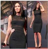 Megan Fox Black Sheer Insert Bandage Dress High Quality