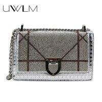 Diamond Bag Sequins Woman Messenger Chain Handbags Sequined Women Crossbody Bags Small Box 2018 Famous Brands