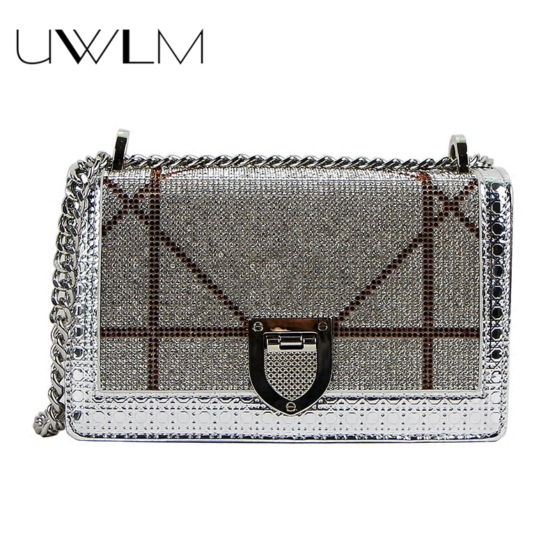Diamond Bag Sequins Woman Messenger Chain Handbags Sequined Women Crossbody Bags Small Box 2018 Famous Brands Party Shoulder Bag miwind f graffiti istitching chain messenger chain bag women s premium lady oblique crossbody shoulder bags famous brands c c