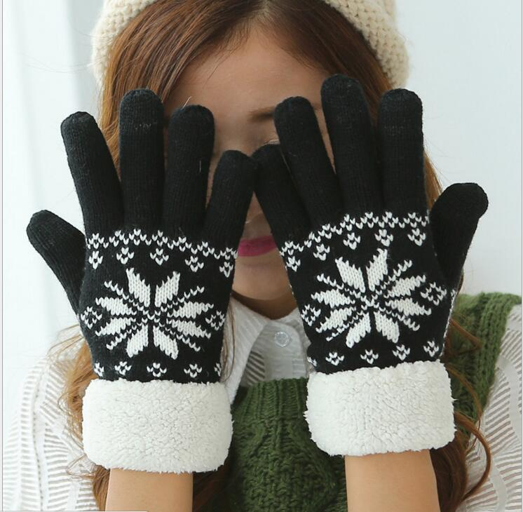 100pcs/lot! Touch Screen Gloves Women Winter Warm Snowfake Knitted Gloves