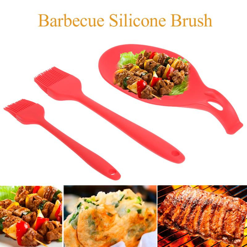 BBQ Silicone Spoon Holders Set+ 2pcs Kitchen Cleaning Basting Brushes Cooking Utensil Barbecue Pastry Brush Tool