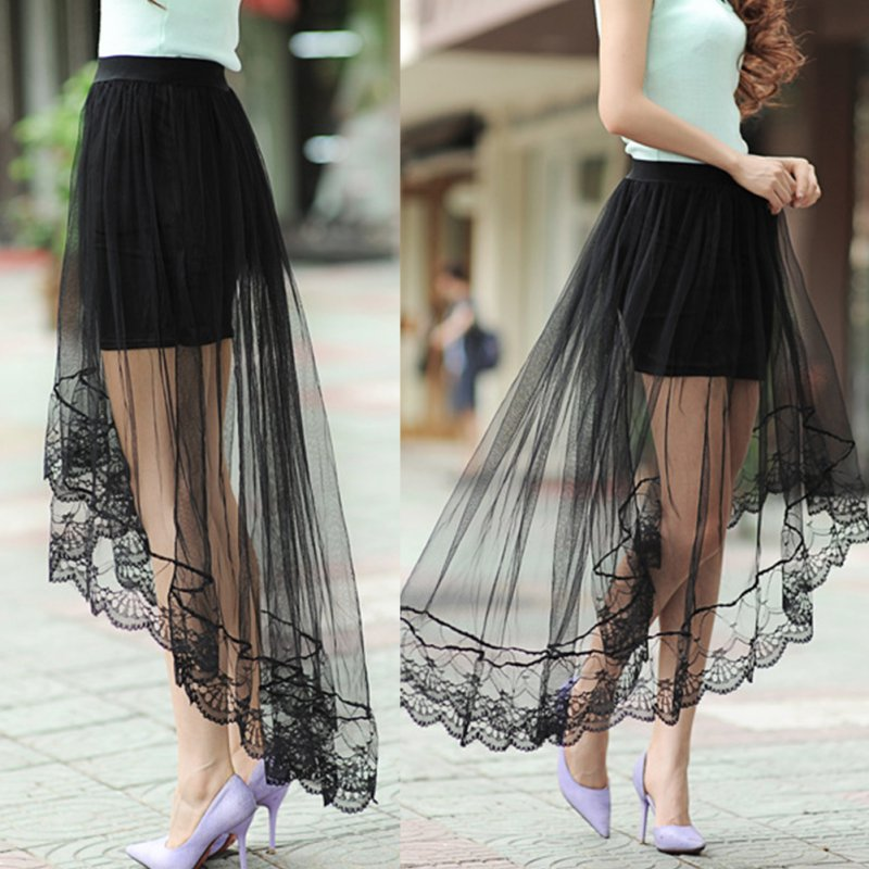 2016 Summer New Women Sexy Romantic Transparent Lace Skirts Long Section Skirt Jupe Tulle Black White Short Skirt