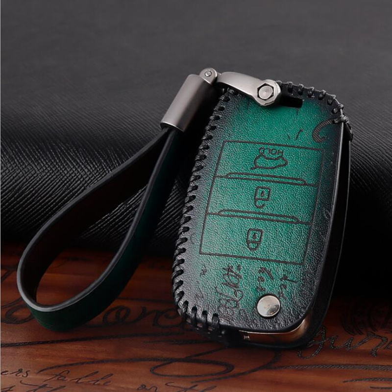Genuine Leather Car Key Cover Case For Kia Ceed Rio Sportage R K3 K4 K5 Ceed Sorento Cerato Optima 2015 2016 2017 Key Case image