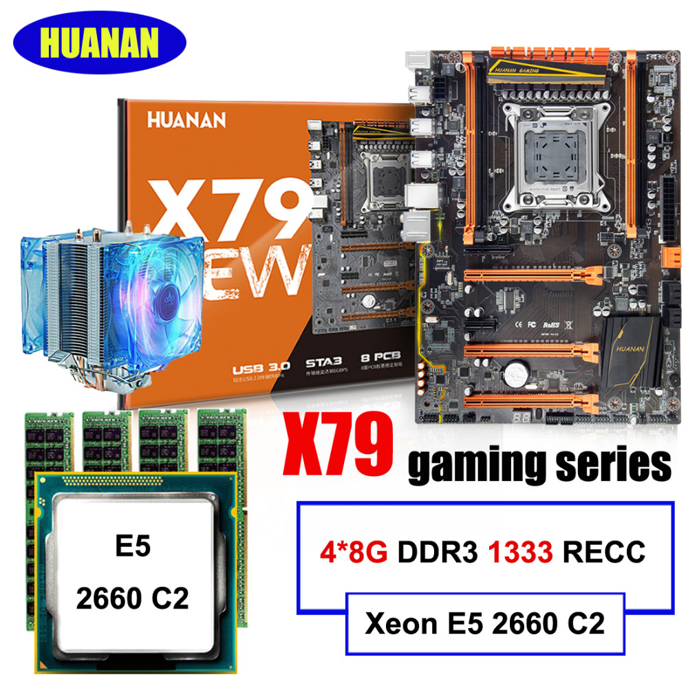 цены HUANAN deluxe X79 motherboard CPU RAM combos X79 LGA2011 motherboard Xeon E5 2660 C2 with cooler RAM 32G(4*8G) DDR3 1333 RECC