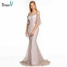 Dressv pembe bir çizgi uzun gece elbisesi backless ucuz kayışlar yarım kollu düğün parti resmi elbise dantel abiye