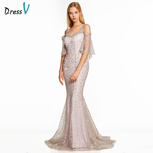 Image 1 - Dressv pink a line long evening dress backless cheap straps half sleeves wedding party formal dress lace evening dresses