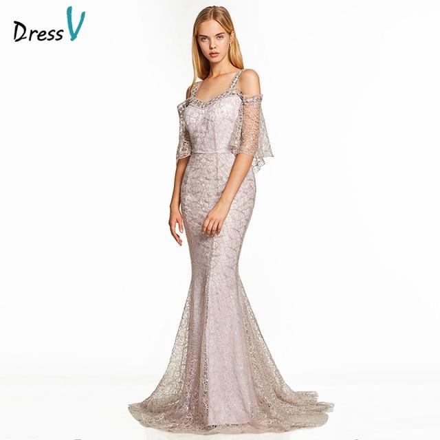 Dressv pink a line long evening dress backless cheap straps half sleeves wedding party formal dress lace evening dresses