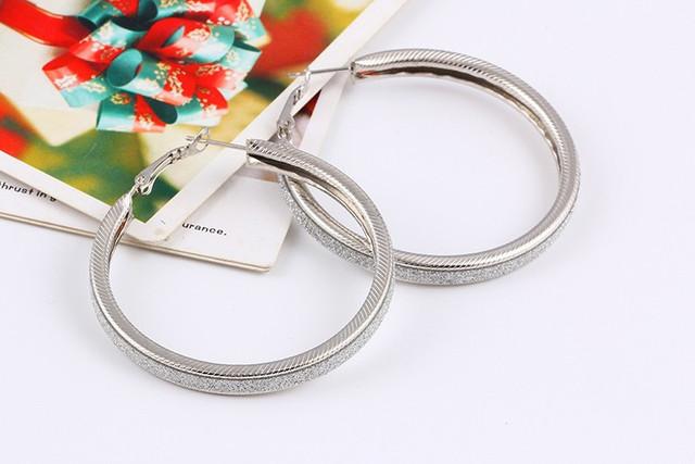 Gold Silver Big Circle Hoop Earrings For Women Large Round Loop Earring Female Ear Jewelry Accessories Stardust Pendientes