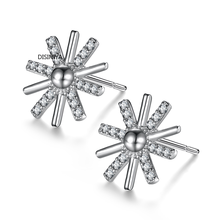 Hot-selling 100% 925 pure silver zircon sunflower Earrings exquisite jewelry aretes de mujer modernos 2019