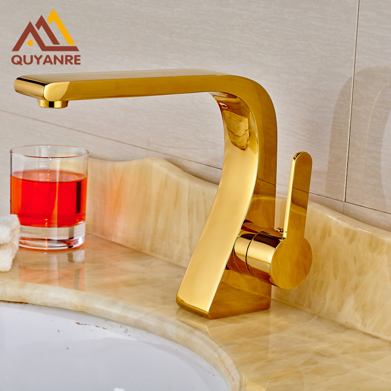 Gold-plated Basin Faucet Deck Mounted One Handle One Hole Bathroom Mixer Faucet