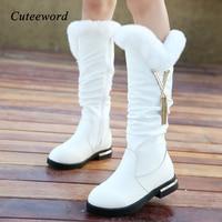 Children boots girls genuine leather boots winter fashion knee high martin boots plus velvet warm rabbit fur kids princess shoes