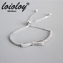 Loioloy Authentic 925 Sterling Silver Brilliant Bow-knot Ball Clasp Adjust Womens Bracelet Bangle Women Europe Jewelry