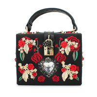 Latest Design Ladies Handbag European Style Retro Female Bags Red Flower Pattern And Big Diamond Messenger