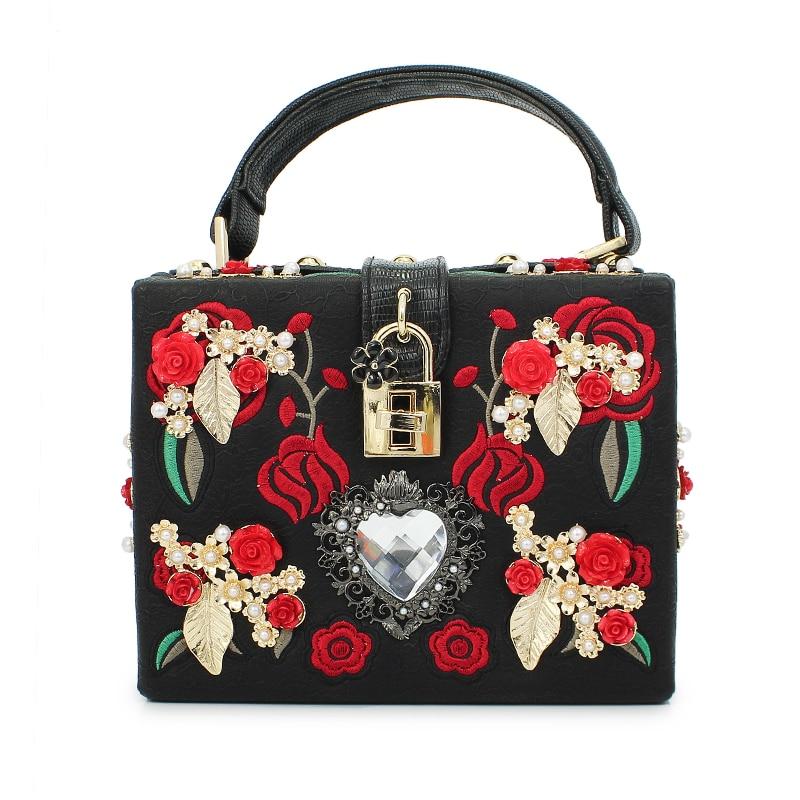 Latest design ladies handbag European-style retro female bags red flower pattern and big diamond Messenger Bag(C226) european retro red