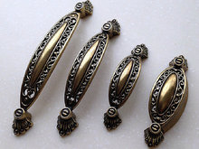 Cabinet Handles Pulls Knobs Antique Bronze Openwork / Dresser Drawer Handle Knob Vintage Furniture Door Hardware Rustic
