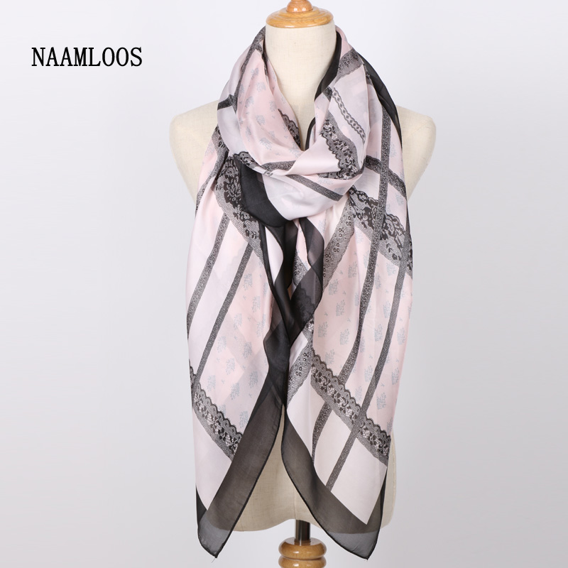 2017 Summer Brand New style 100% Silk scarf Print Long Soft Pink Palid Women Scarf Beach Shawl Wraps Cool Fashion Scarves