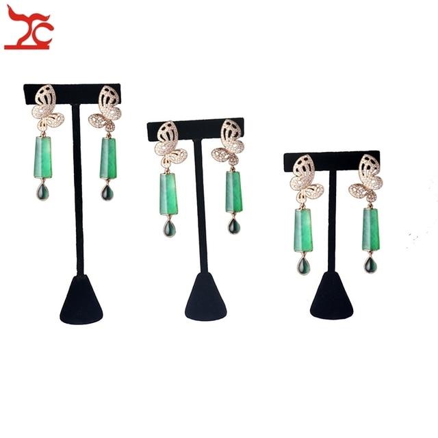 Good Quality Black Velvet Jewelry Display Rack Earring Tree T Bar Holder Stud Organizer Storage