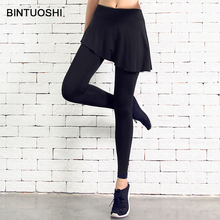 BINTUOSHI 2 In 1 Yoga Pants Quick Dry Sport Pant Elastic Running Fitness Compressed Leggings for Women Clothes