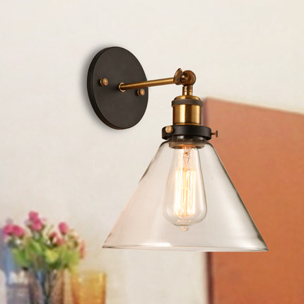 Loft Style Iron Glass Vintage Wall Lamp Bedside Wall Light Fixtures For Dining Room Edison Wall Sconce Indoor Lighting american edison loft style rope retro pendant light fixtures for dining room iron hanging lamp vintage industrial lighting