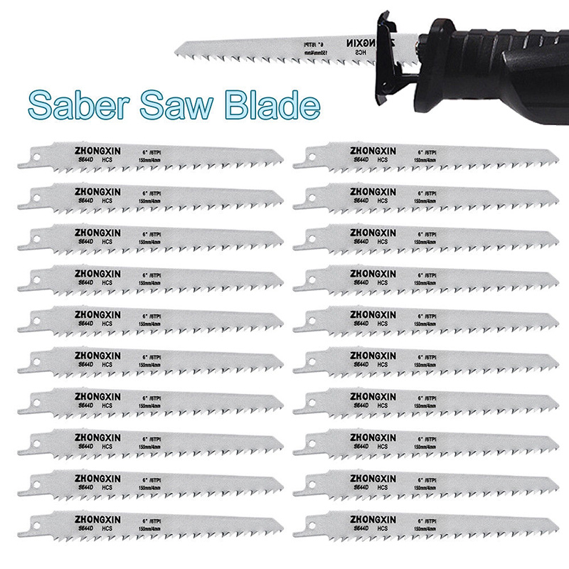 20Pcs HCS Carbon Saber Saw Blades 150 X 19 X 0.9 Mm For Wood PVC QP2
