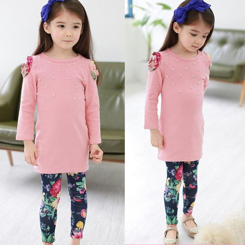 Long Sleeve Girls Suits 2017 New Autumn Spring Kids Clothes Cotton Shirts Flower Legging 2pcs Childrens Clothing Set 3-9Years